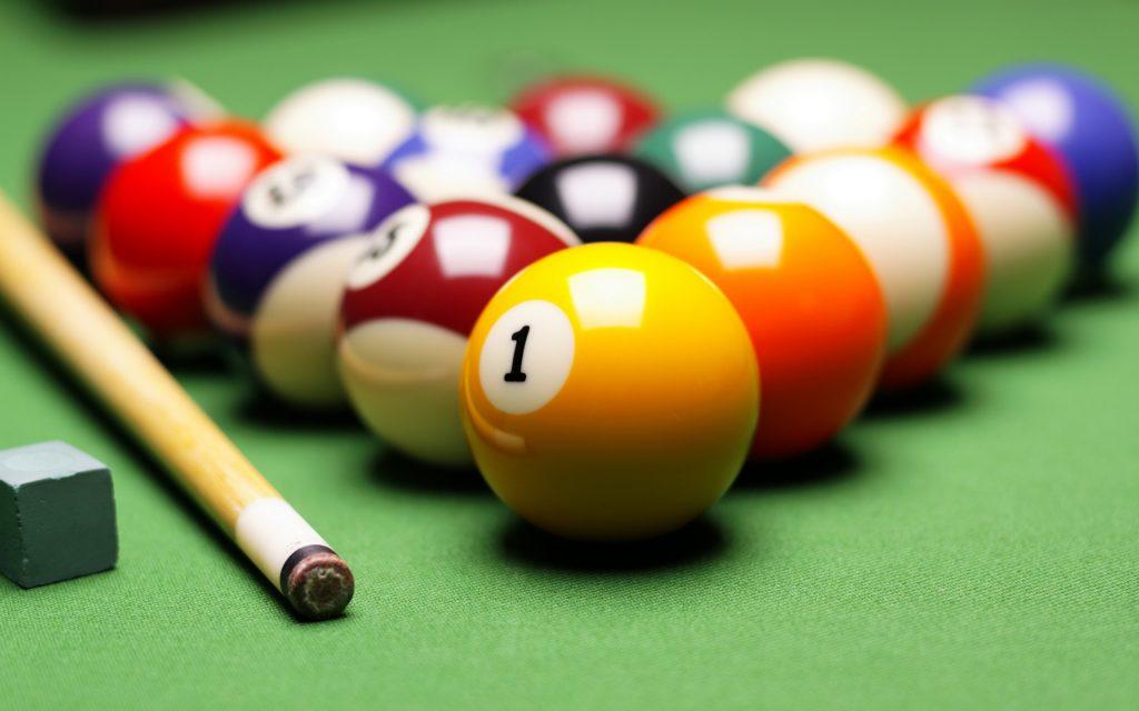 Strung balls and Billiard Cue