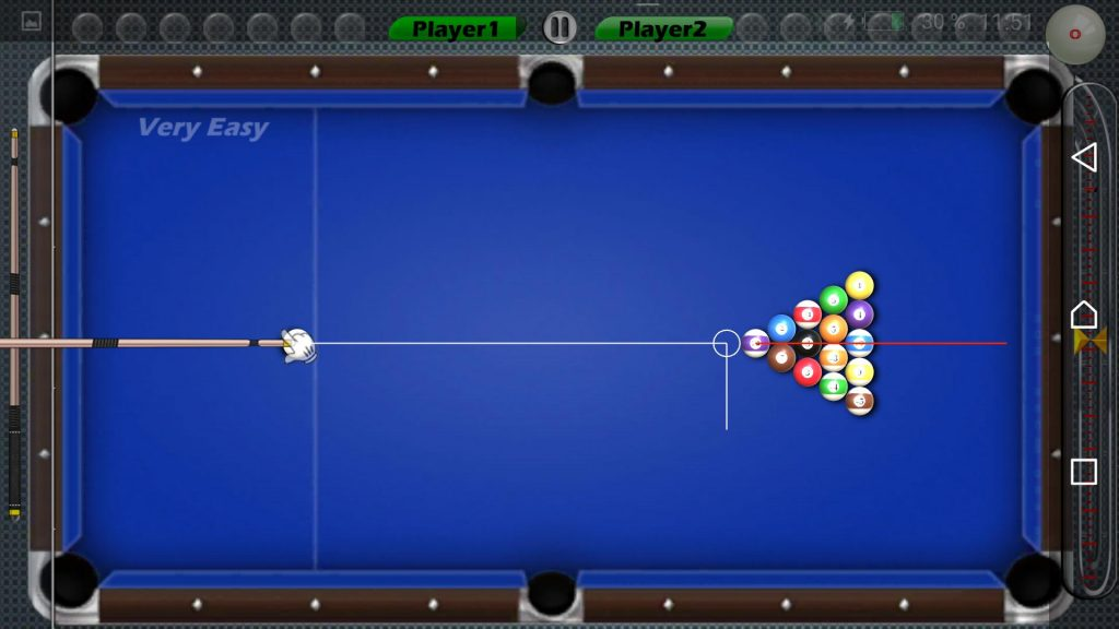 Prepared billiard table to start 8 Ball Pool