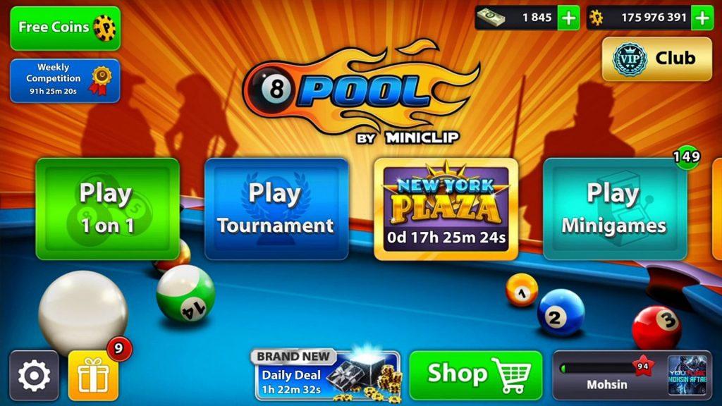 8 Ball Pool Home Screen
