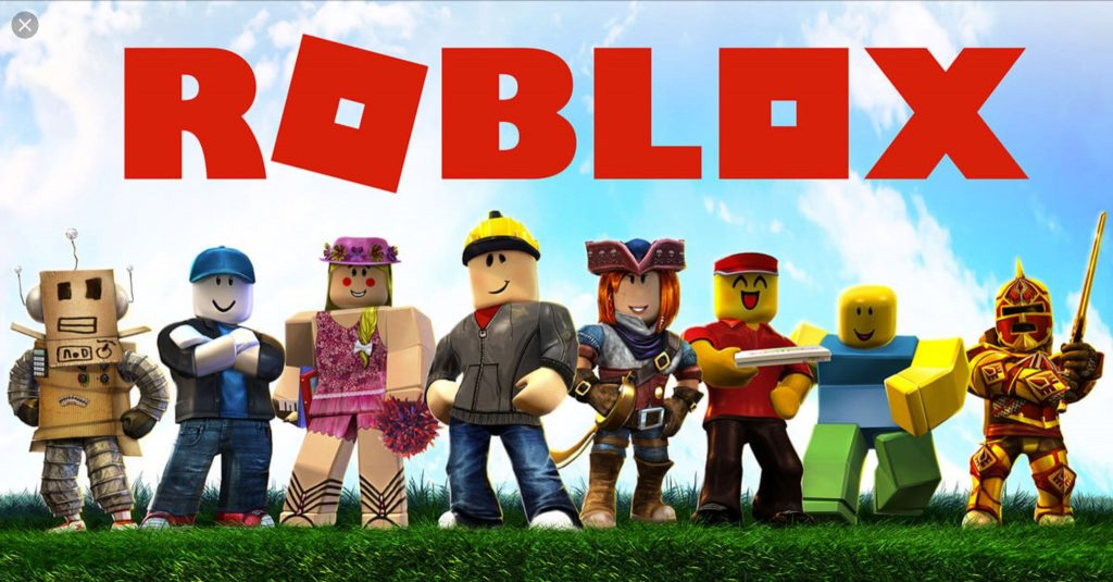 Roblox Characters and Roblox logo on the clouds