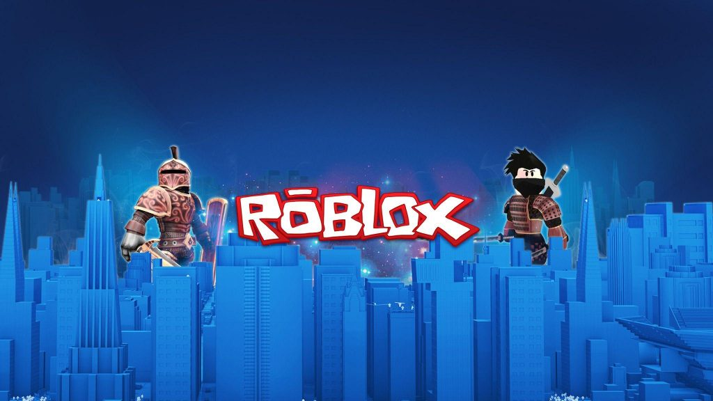 Roblox Swords and logo in an evening of Roblox City