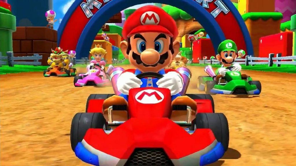 Mario, Luigi, Princess and the enemy drives Kart