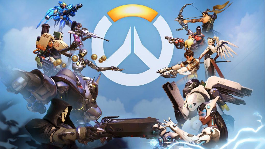OverWatch Characters with guns on the clouds