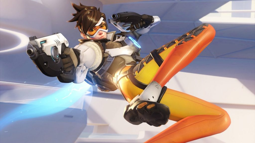 OverWatch Character in the Air and Posture witg Guns