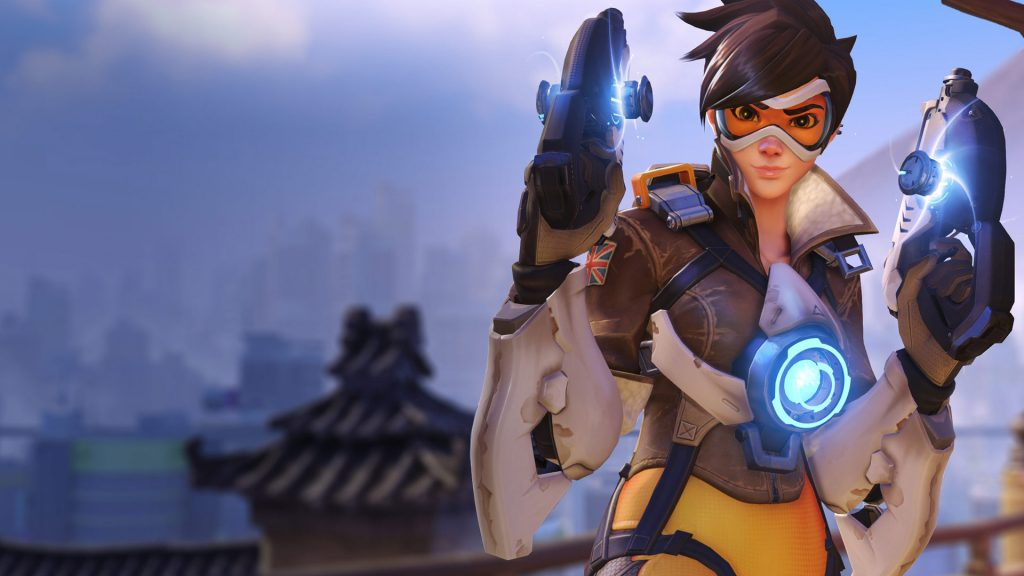 Beautiful OverWatch Character with to guns