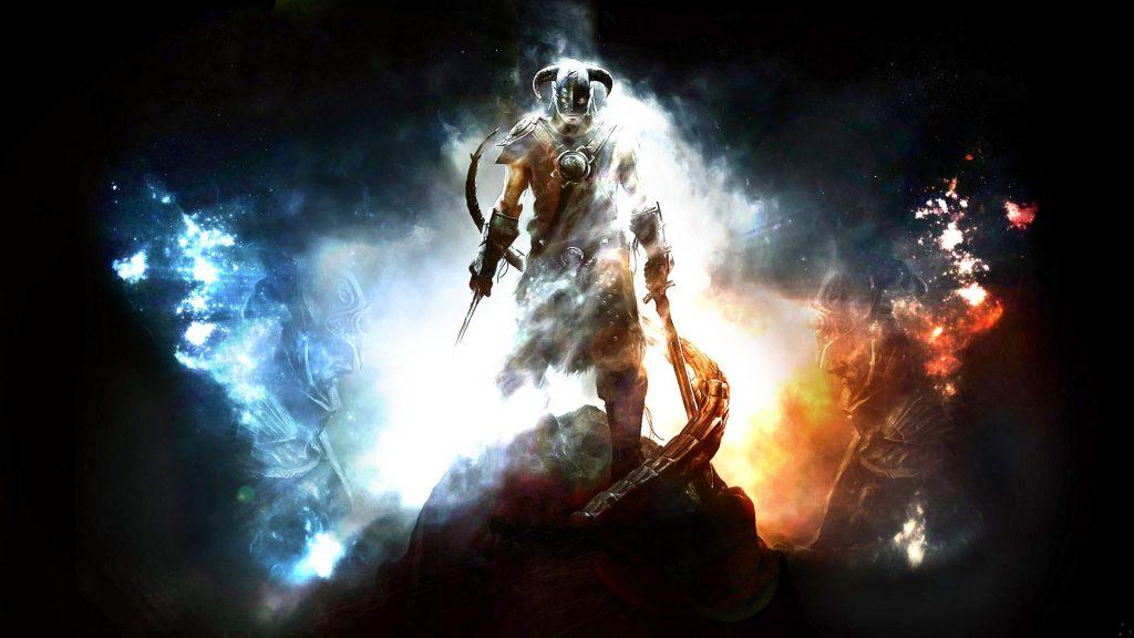 Skyrim Main Character Shining Background