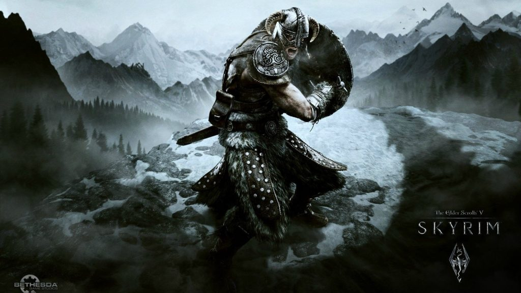 Skyrim Character fighting with his Shield