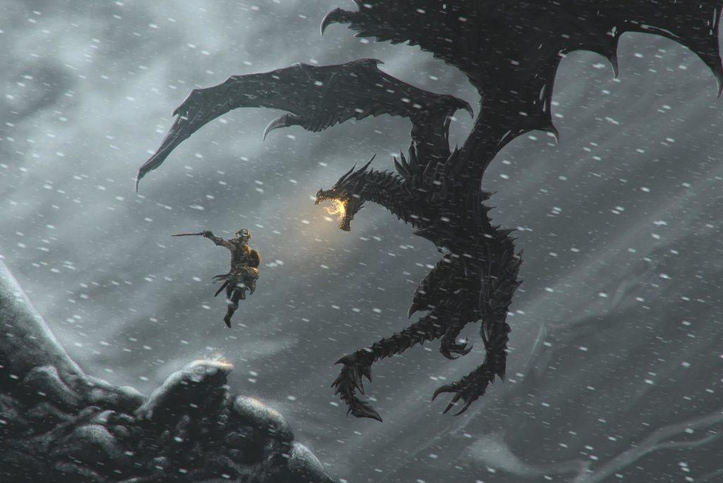 Skyrim Character vs Dragon on the Air